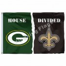 Green Bay Packers New Orleans Saints House Divided Flag 3ft X 5ft Polyester NFL1