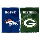Denver Broncos Green Bay Packers House Divided Flag 3ft X 5ft Polyester NFL1 Ban