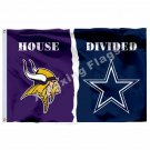 Minnesota Vikings Dallas Cowboys House Divided Flag 3ft X 5ft Polyester NCAA Ban