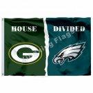 Green Bay Packers Philadelphia Eagles House Divided Flag 3ft X 5ft Polyester NFL