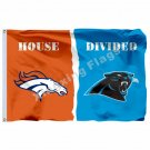 Denver Broncos Carolina Panthers House Divided Flag 3ft x 5ft Polyester NFL Bann