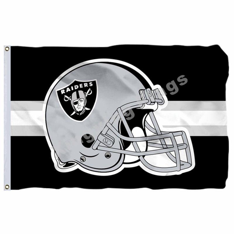 Oakland Raiders Helmet Horizontal Strip Flag 3ft X 5ft Polyester NFL1 Team Banne