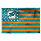 Miami Dolphins Nation Flag With Star And Stripe 3ftx5ft Banner 100D Polyester NF