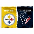 Pittsburgh Steelers Houston Texans House Divided Flag 3ft X 5ft Polyester NCAA B