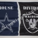 Dallas Cowboys Oakland Raiders House Divided Flag 3ft X 5ft Polyester NFL1 Banne