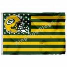 Green Bay Packers Helmet Green Bay Skyline Flag 3ft x 5ft Polyester NFL Team Ban
