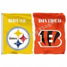 Pittsburgh Steelers Cincinnati Bengals House Divided Flag 3ft X 5ft Polyester NC