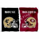 New Orleans Saints San Francisco 49ers Helmet House Divided Flag 3ft X 5ft Polye