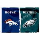 Denver Broncos Philadelphia Eagles House Divided Flag 3ft x 5ft Polyester NFL Ba