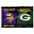 Minnesota Vikings  Green Bay Packers House Divided Flag 3ft x 5ft Polyester NFL