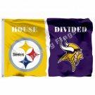Pittsburgh Steelers Minnesota Vikings House Divided Flag 3ft X 5ft Polyester NCA