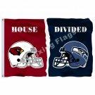 Arizona Cardinals Seattle Seahawks helmets House Divided Flag 3ft x 5ft Polyeste