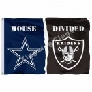 Dallas Cowboys Oakland Raiders House Divided Flag 3ft x 5ft Polyester NFL Banner