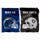 San Diego Chargers Oakland Raiders Helmet House Divided Flag 3ft X 5ft Polyester