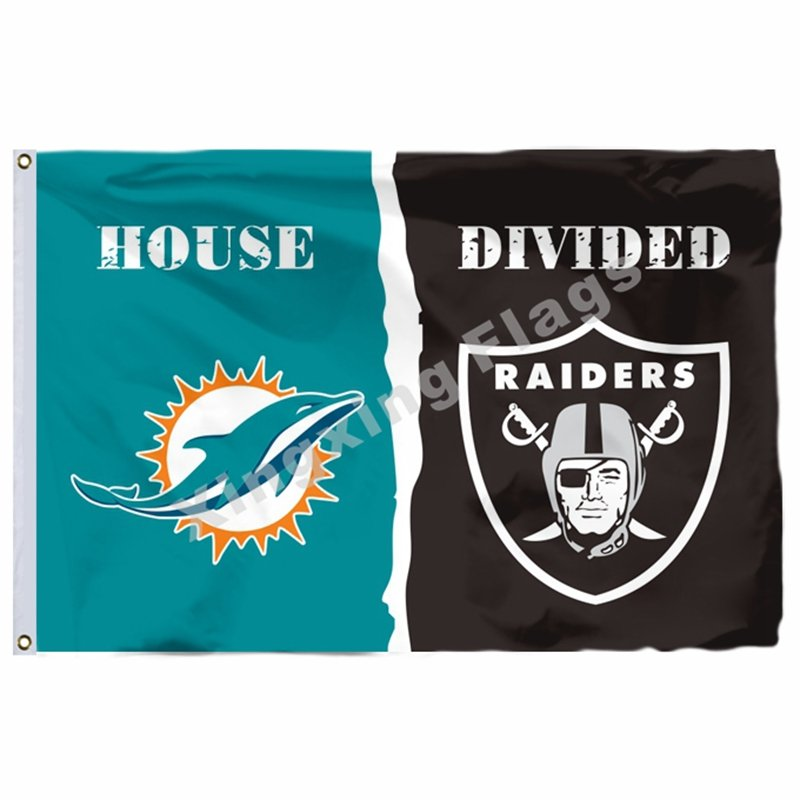 Miami Dolphins Oakland Raiders House Divided Flag 3ft X 5ft Polyester NFL Banner