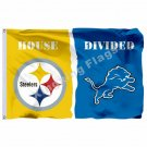 Pittsburgh Steelers Detroit Lions House Divided Flag 3ft X 5ft Polyester NCAA Ba