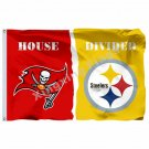 Tampa Bay Buccaneers Pittsburgh Steelers House Divided Flag 3ft X 5ft Polyester