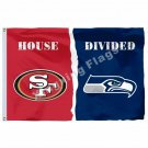 San Francisco 49ers Seattle Seahawks House Divided Flag 3ft x 5ft Polyester NCAA