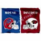 Arizona Cardinals Buffalo Bills Helmets House Divided Flag 3ft X 5ft Polyester N