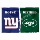 New York Giants New York Jets House Divided Flag 3ft x 5ft Polyester NFL Banner