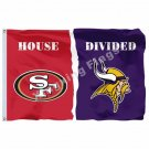 San Francisco 49ers Minnesota Vikings House Divided Flag 3ft x 5ft Polyester NFL