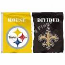 Pittsburgh Steelers New Orleans Saints House Divided Flag 3ft X 5ft Polyester NC