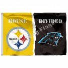 Pittsburgh Steelers Carolina Panthers House Divided Flag 3ft X 5ft Polyester NFL