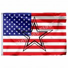 Dallas Cowboys Hollow Out Shape With US Flag 3ft X 5ft Polyester NFL1 Team Banne