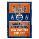 Edmonton Oilers Stanley Cup Champions Flag 3ft X 5ft Polyester NHL Banner Flying