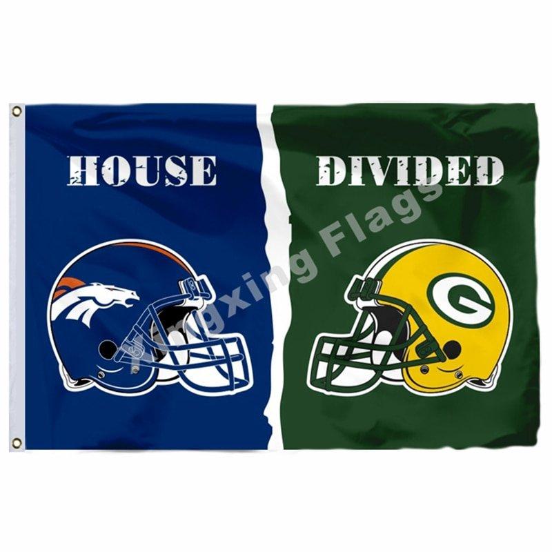 Denver Broncos Green Bay Packers Hemlets House Divided Flag 3ft X 5ft Polyester