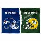 Denver Broncos Green Bay Packers Hemlets House Divided Flag 3ft X 5ft Polyester