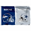Denver Broncos Dallas Cowboys Hemlets House Divided Flag 3ft X 5ft Polyester NFL