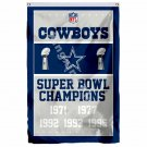 Dallas Cowboys Super Bowl Champions Flag 3ft X 5ft Polyester NFL1 Banner Flying