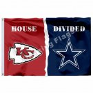 Kansas City Chiefs Dallas Cowboys House Divided Flag 3ft x 5ft Polyester NFL Ban