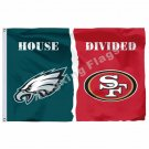Philadelphia Eagles San Francisco 49ers House Divided Flag 3ft X 5ft Polyester N