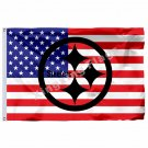 Pittsburgh Steelers Hollow Out Shape With US Flag 3ft X 5ft Polyester NFL1 Team