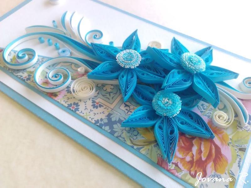 Handmade card/ quilling card/ birthday card/ wedding card/ blue card/ flowers/ 3d card