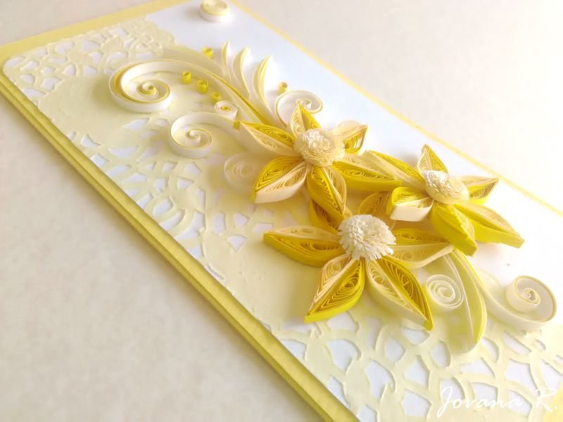 Handmade Card Quilling Card Birthday Card Wedding Card Yellow Card