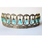 Blue Topaz Pave Diamond Silver Crown Tiara