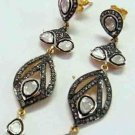 Awesome Vintage Repro. Sterling Silver 3.05Ct. Rose/Anti. Cut Diamond Earrings