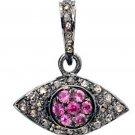 Eye Charms Vintage Repro. 0.46Ct. Rose Cut 925 Sterling Silver Diamond Pendant