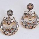 Vintage Style 1.58Ct. Diamond .925 Sterling .925 Silver Polki Earrings