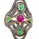 Victorian/Vintage  Silver Rose Cut Diamond Antique Pave Ring@ebayUSFR2861