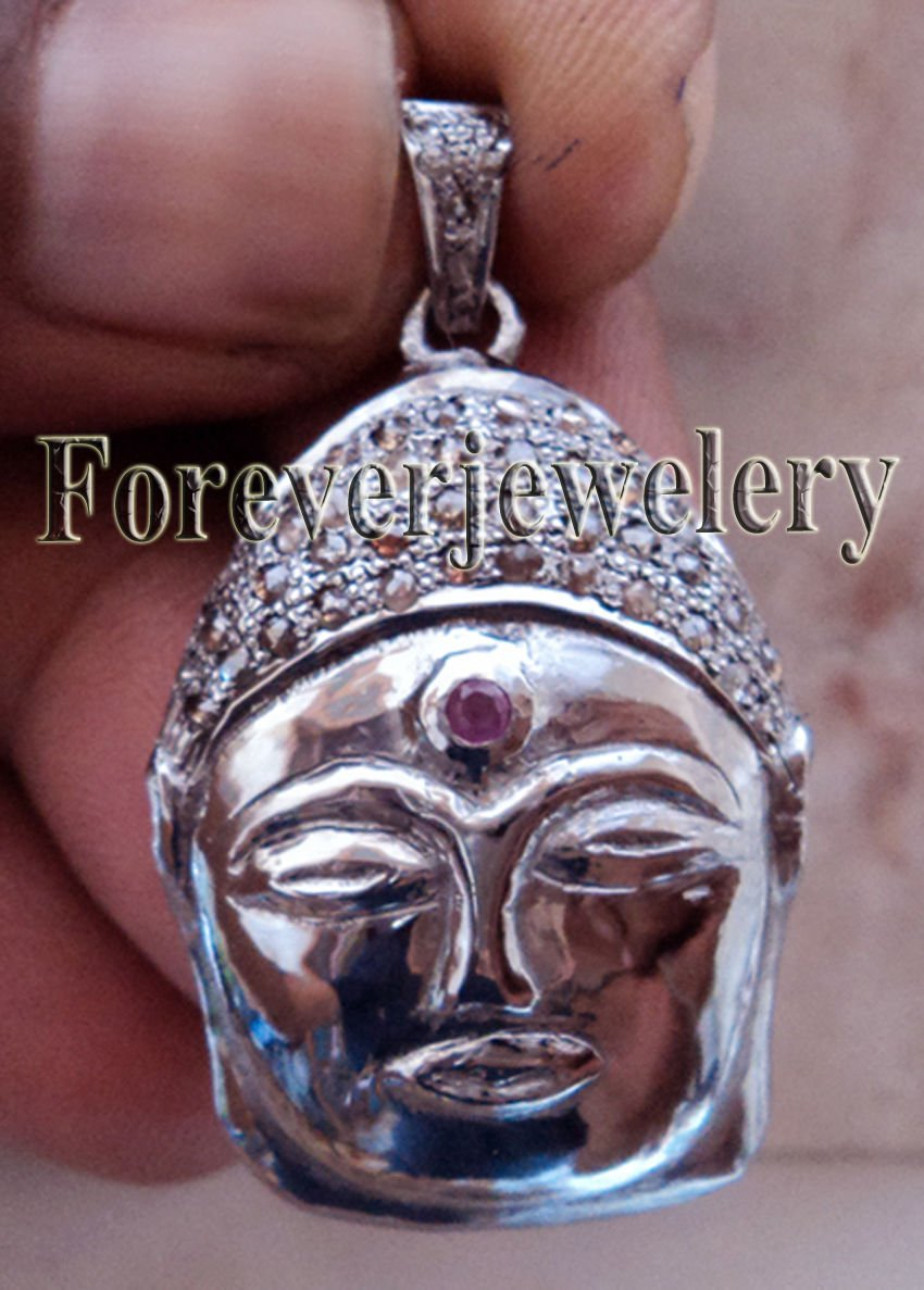 BUDDHA .925 SILVER VICTORIAN INSPIR. 1.50CTW ROSE CUT DIAMOND ANTIQUE PENDANT