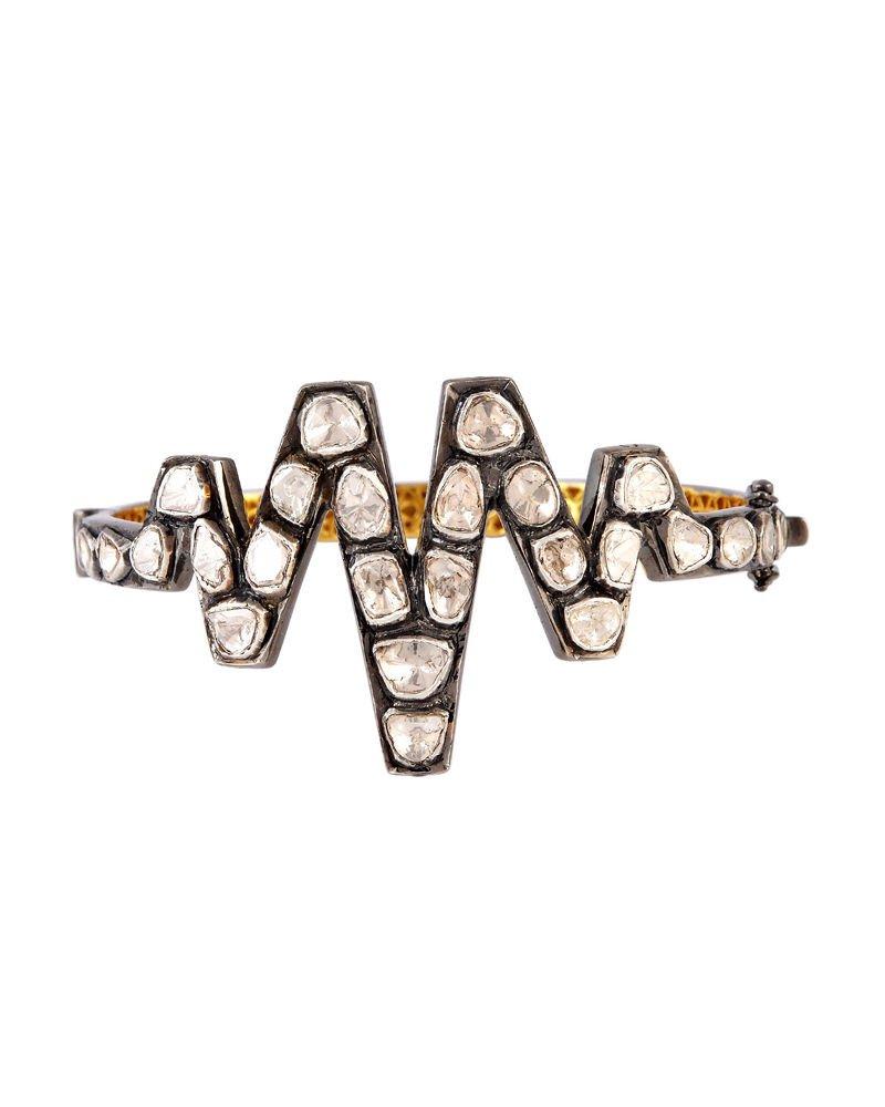 ZIG-ZAG Style Victorian Inspir. 3.14Ct Antique Cut Diamond Silver Polki Bracelet