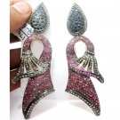 Stunning Victorian Repro. Pave Rose Cut Diamond Ruby/Sapphire Antique Earrings