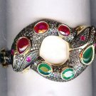 Snake Victorian Inspired 4.85Ctw Rose Cut Diamond Silver Cuff Ruby Bracelet