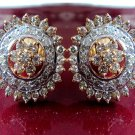 1.46Ctw Natural Diamond Yellow Gold Studs Party-wear Earrings