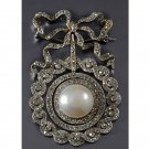 Collection Victorian Inspired 3.10Ctw Rose Cut Diamond Silver Brooch/Pendant
