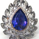 New Arrival 1.65Ctw Rose Cut Diamond Sterling Silver Sapphire Ring